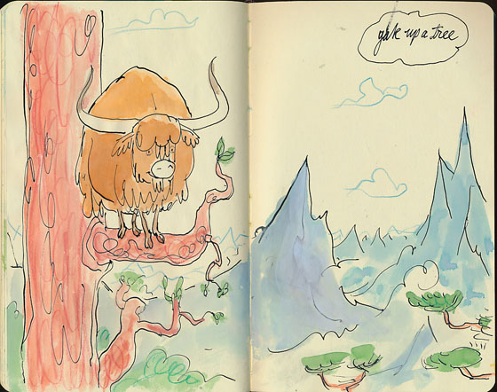 Character/sketchbook samples from Captain Quack and the Yak, written by Alison Green and illustrated by Adam Stower